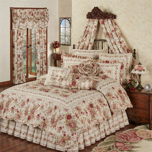 Heirloom Rose 4 Pc Floral Quilt Set