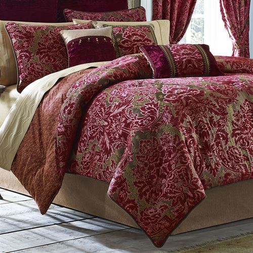 Fuchsia Damask Comforter Bedding By Croscill