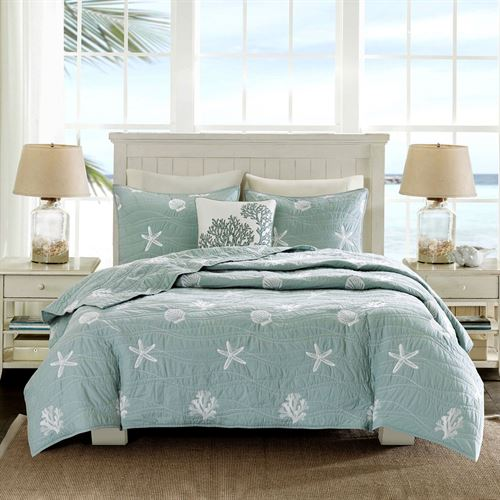 Seaside Coverlet Bed Set Sterling Blue