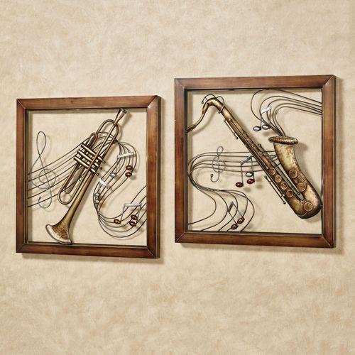 Musical Harmony Trumpet and Saxophone Metal Wall Art Set