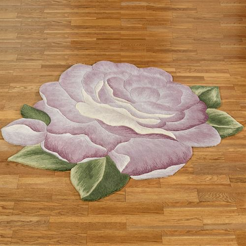 Vintage Bloom Flower Shaped Rug Lavender