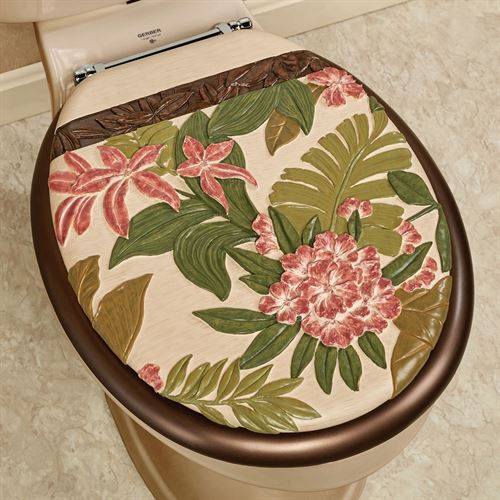 Tropical Haven Elongated Toilet Seat Light Cream
