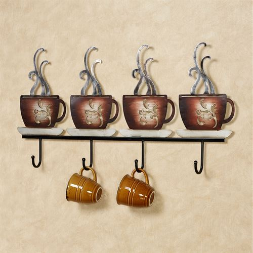 Coffee Break Wall Hook Rack Brown