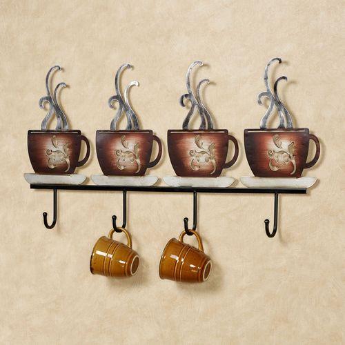 Coffee Break Wall Hook Rack Brown