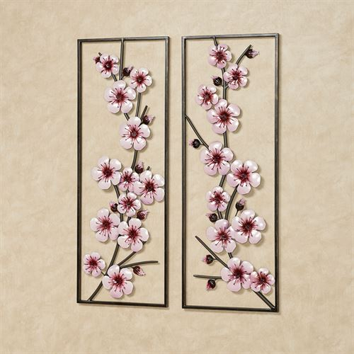 Cherry Blossom Wall Art Pink Set of Two