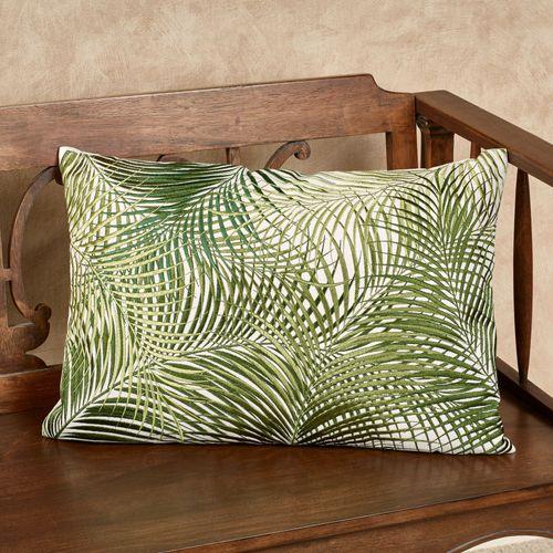 Palmetto Embroidered Decorative Pillow Green 20 x 14