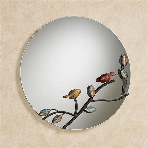 Nature Inspired Birds Round Wall Mirror Multi Earth