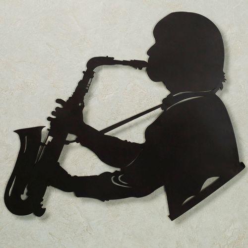 Saxophone Vibes Wall Art Black