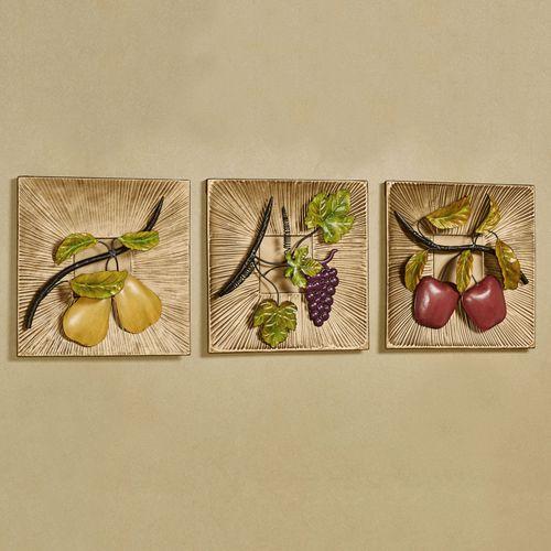 Tuscan Orchard Fruit Wall Art Multi Earth Set of Three