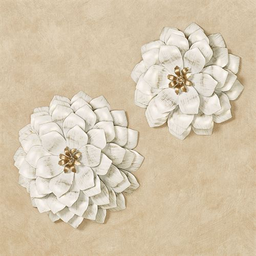 Flower Blossoms Wall Art Ivory/Gold Set of Two