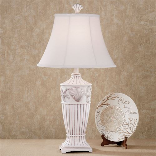Sand and Shell Table Lamp Whitewash Each with CFL Bulb