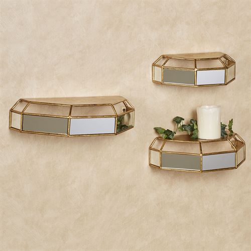 Maldaine Wall Shelves Gold Set of Three