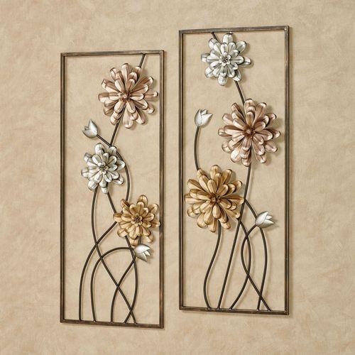 Alessia Blooms Wall Art Multi Metallic Set of Two