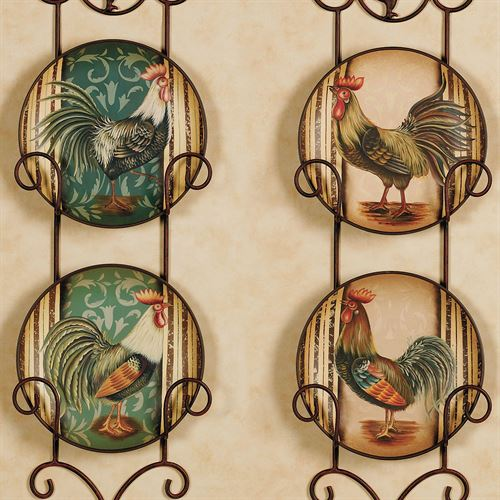 Champion Rooster Decorative Plates  Set of Four