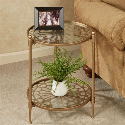 Luciano Round Accent Table Satin Gold