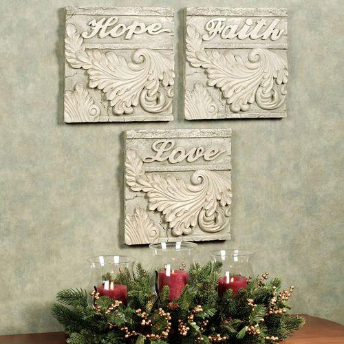 Classical Sentiments Plaque Set Soft Ivory Set of Three