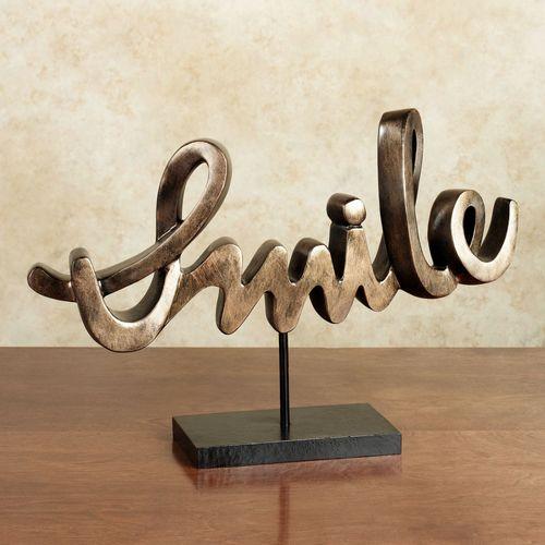 Expressive Smile Table Sculpture Bronze