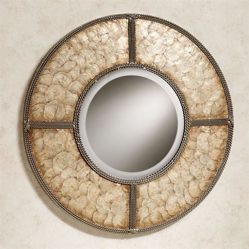 Capiz Shell Wall Mirror Gold