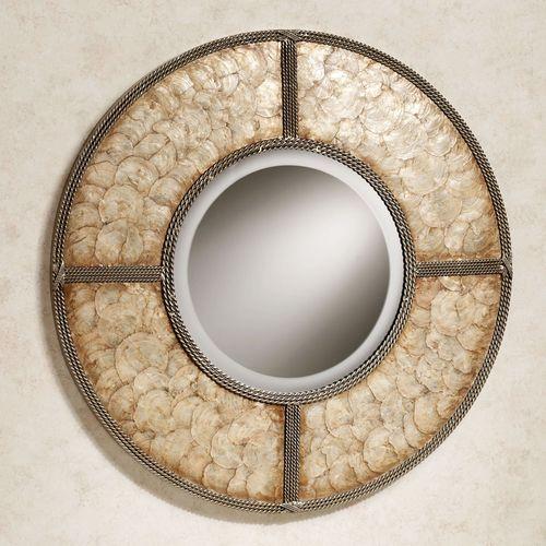 Capiz Shell Wall Mirror Gold