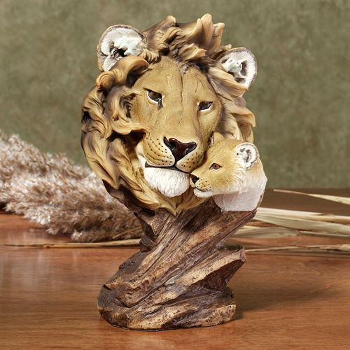 Lion and Cub Table Sculpture Tan