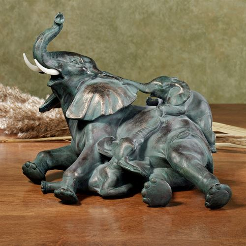 Elephant Family Table Sculpture Verdi Bronze