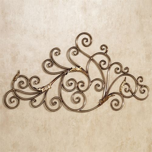 Mireille Scrolling Metal Wall Sculpture Aged Gold
