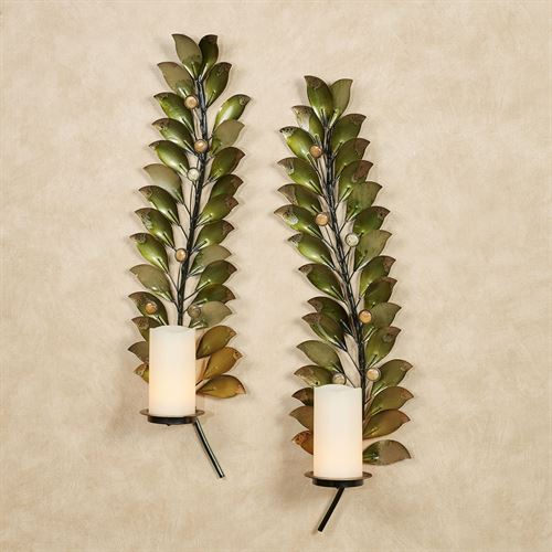 Emerging Autumn Wall Sconces Green Set of Two