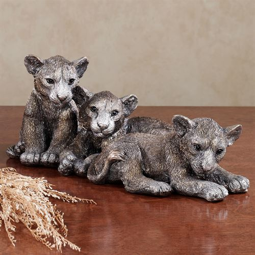 Noble Lion Cubs Table Sculpture Silver Gold