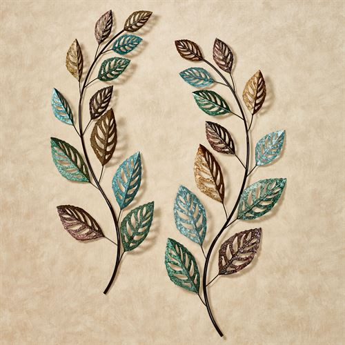 Glistening Leaves Spring Wall Art Multi Cool Set of Two