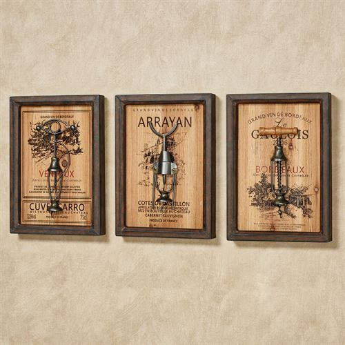 Wine Corkscrew Framed Wall Art Rustic Brown Set of Three