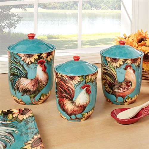 Elegant Sunflower Rooster Kitchen Canisters Turquoise Set Of Three