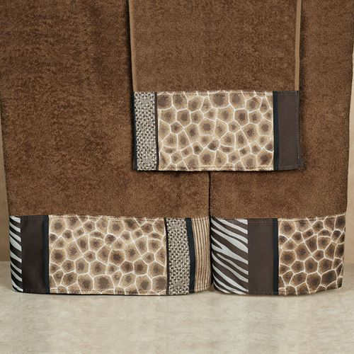 Safari Stripes Towel Set Chocolate Bath Hand Wash