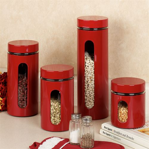 Palladian Red Canister Set Set of Four
