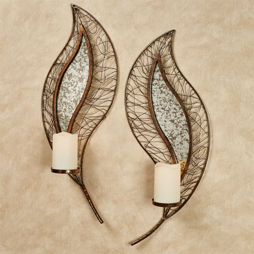 Reflections of Fall Wall Sconces Antique Copper Set of Two