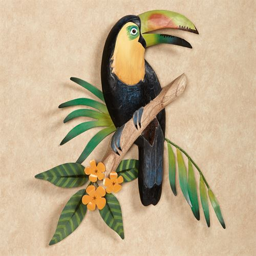Toucan in Blossoms Wall Art Black