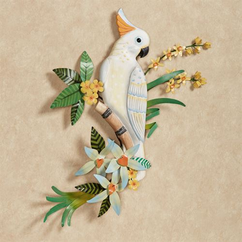 Cockatoo in Blossoms Wall Art White