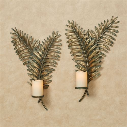 Fern Frond Wall Sconces Green Set of Two