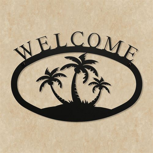 Palm Trees Welcome Wall Art Black