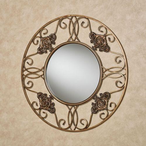 Fleur Round Wall Mirror Antique Gold