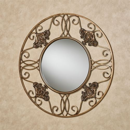 Fleur Round Wall Mirror Antique Gold