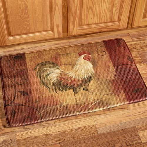 Rooster And Leaves Memory Foam Cushion Mat