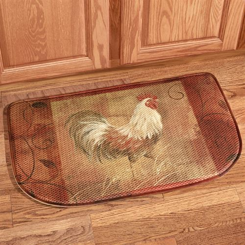Rooster and Leaves Memory Foam Slice Mat Multi Jewel 30 x 18