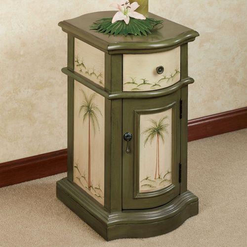 Vintage Palms Storage Cabinet Sage Taupe