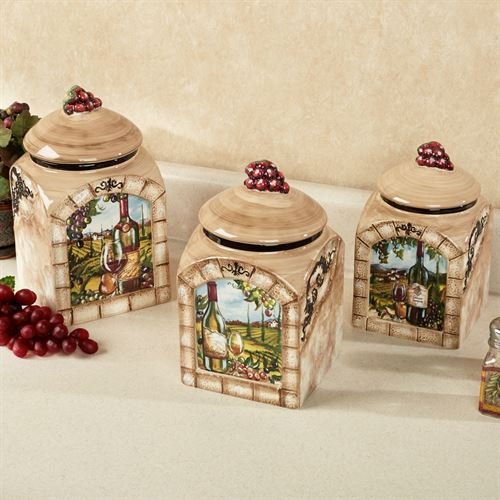Superbe Tuscan View Kitchen Canister Set Beige Set Of Three