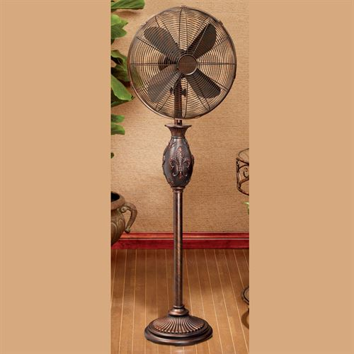 Fleur de Lis Oscillating Floor Fan Antique Copper