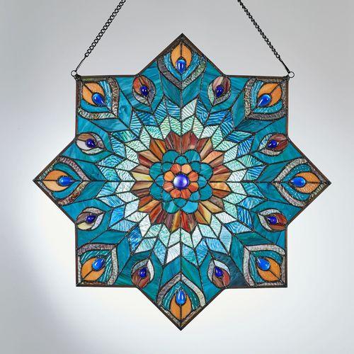 Paralee Peacock Window Art Panel Multi Jewel