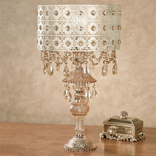 Josephine Crystal Table Lamp Champagne Gold Each with CFL Bulb