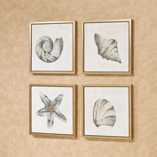 Ocean Allure Framed Wall Art Charcoal Set of Four