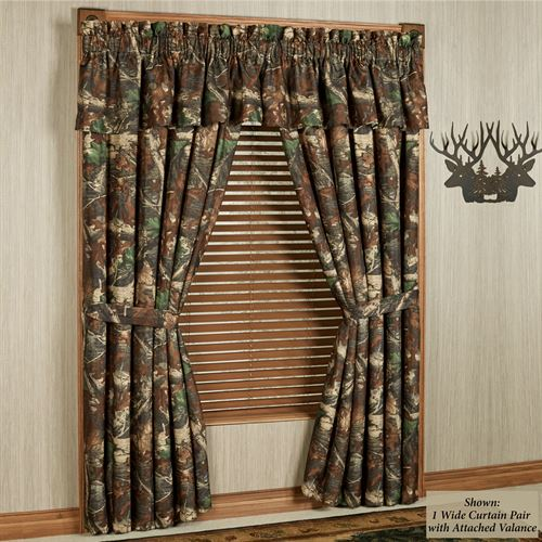 Oak Camo Tailored Curtain Pair Multi Warm 120 x 84