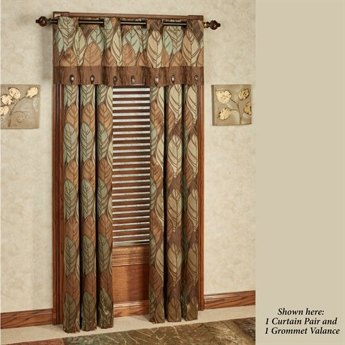 Urban Leaves II Factory Second Grommet Curtain Pair Multi Warm 84 x 84